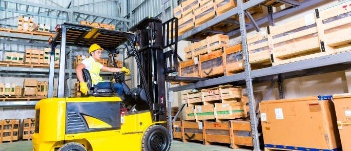 warehouse forklift vehicle