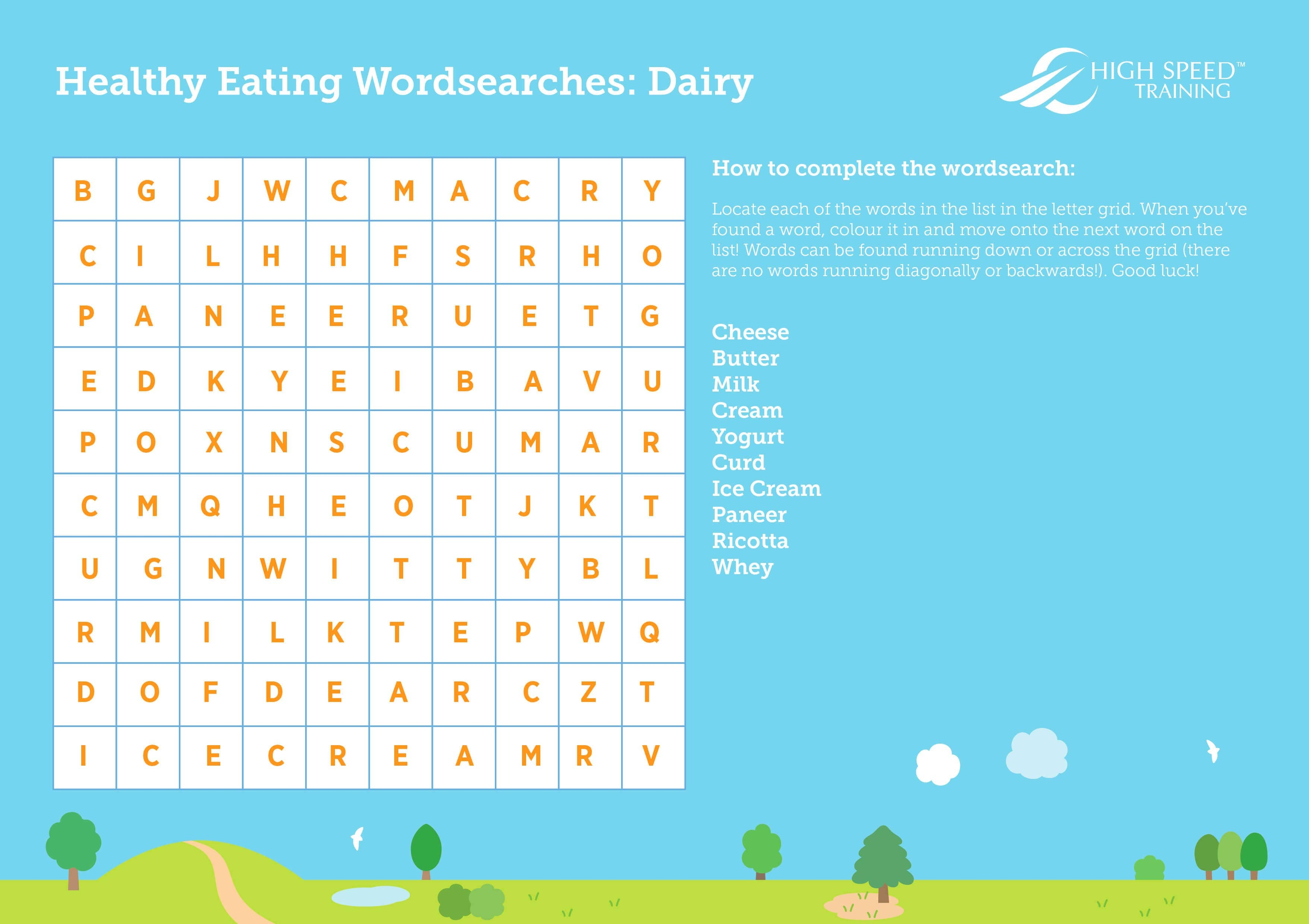 Healthy Eating Wordsearch Collection for Kids | High Speed Training