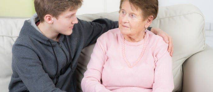 young carer supporting relative