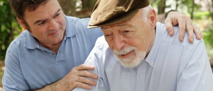 elderly father and son carer