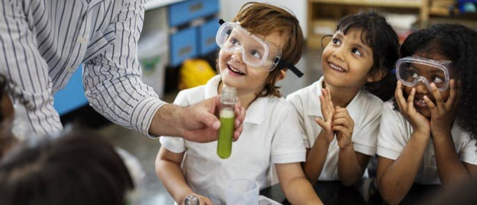 Group of young children in a science lesson