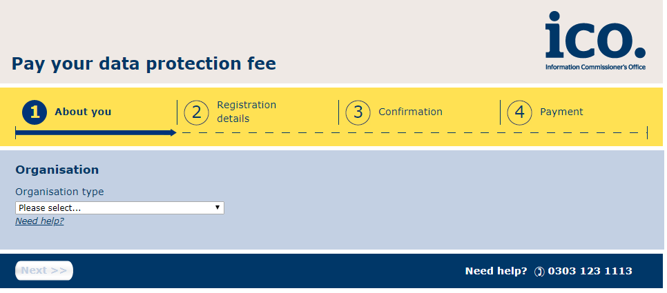 screenshot of the ICO registration site