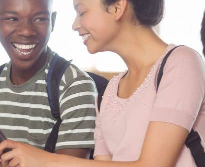 school students chatting