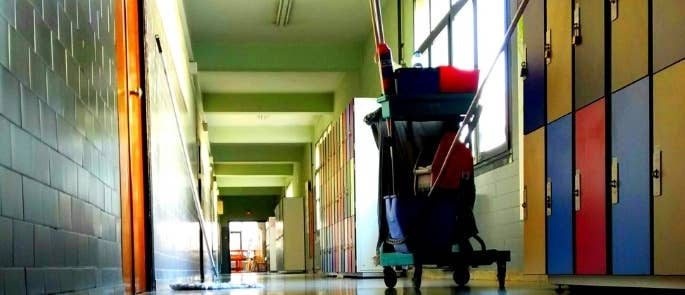 Cleaning equipment in a school hallway