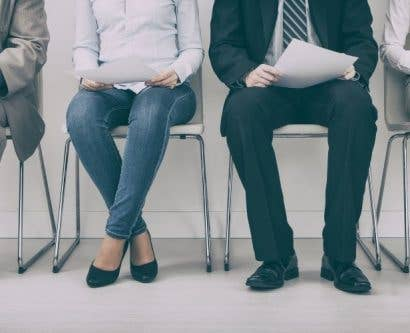 Job applicants waiting to be interviewed for a job