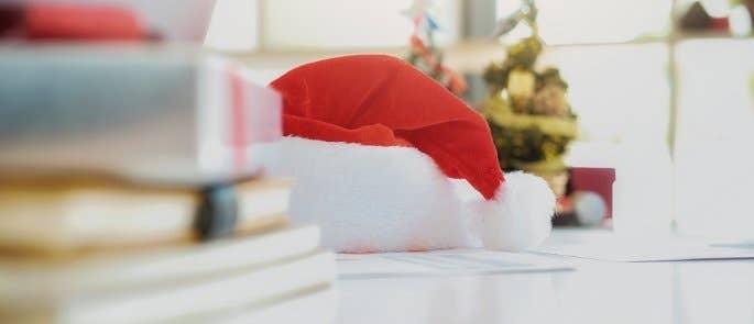 Santa hat on a desk