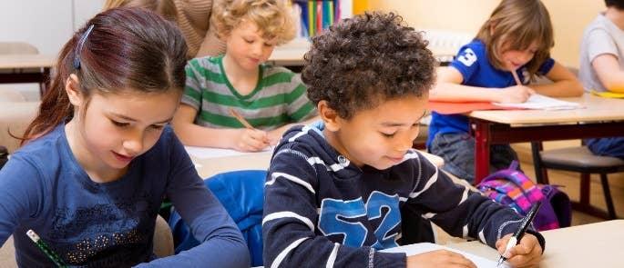 School students completing classwork