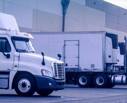 lorries ready to transport substances