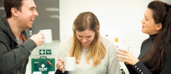 Our experimenters testing coffee