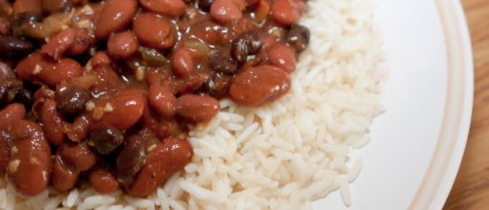 Kidney beans cooked into a rice dish