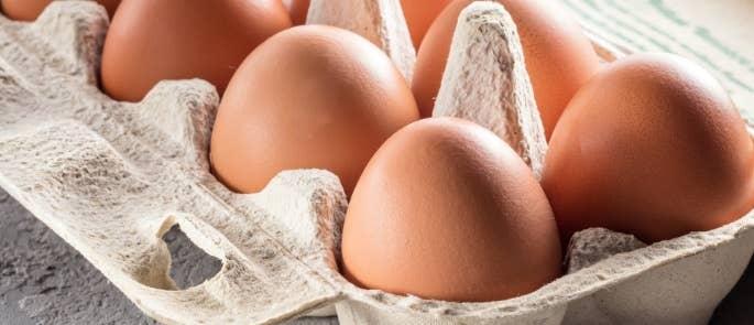 Raw eggs in a cardboard box