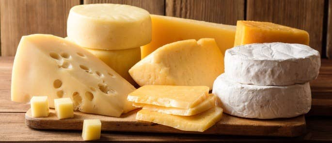 A plate of hard and soft cheeses