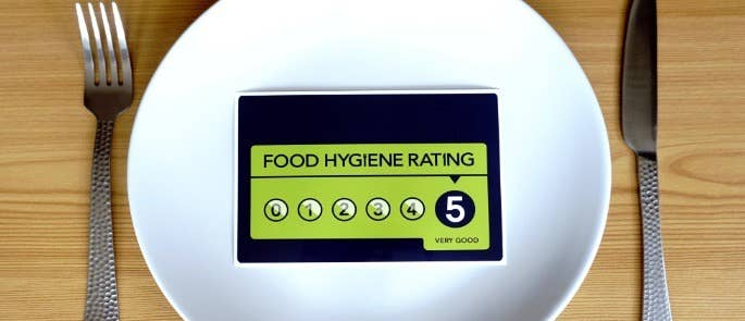 Food hygiene rating sticker on clean plate with knife and fork