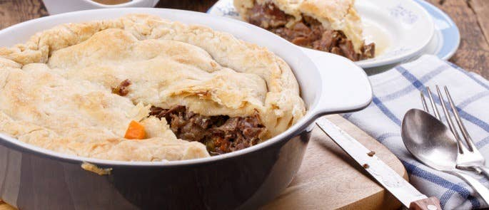 Meat pie made from leftover roast beef
