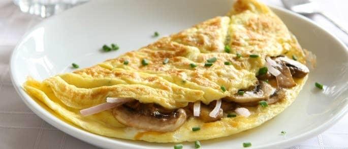 Reheated mushroom omelette on a plate