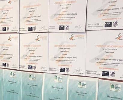 High Speed Training Food hygiene certificates on display in Welcome Stranger Restaurant