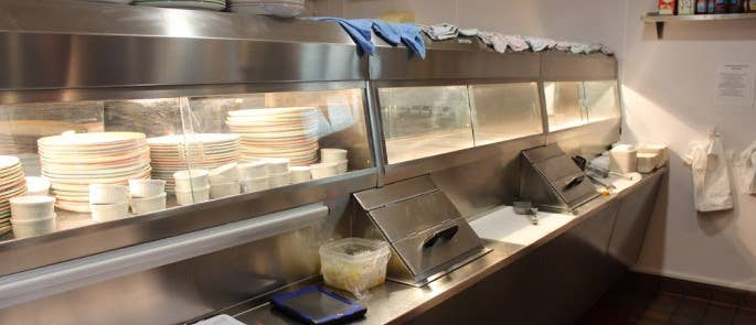 fish & chip counter cleaned to food hygiene standards