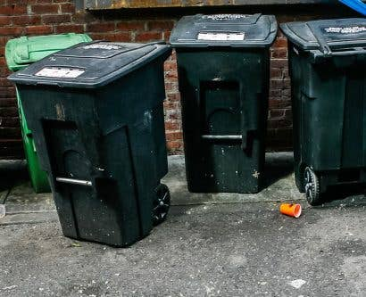 rubbish bins outside restaurant