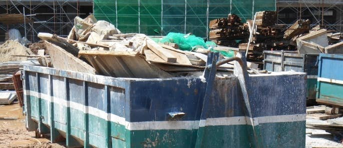 Construction waste in a skip
