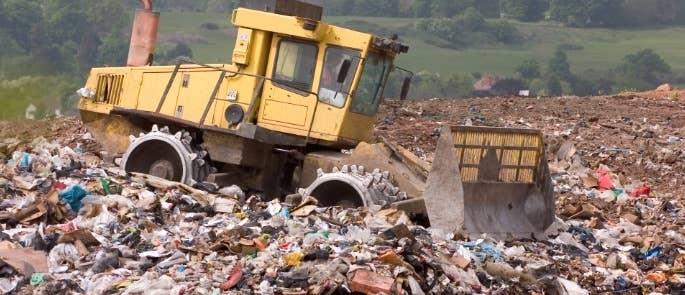 Dump truck on a landfill