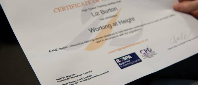 High speed training certificate for working at height