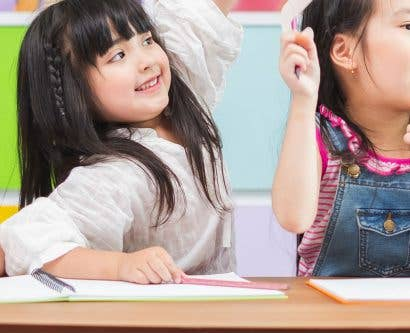 young girls in classroom
