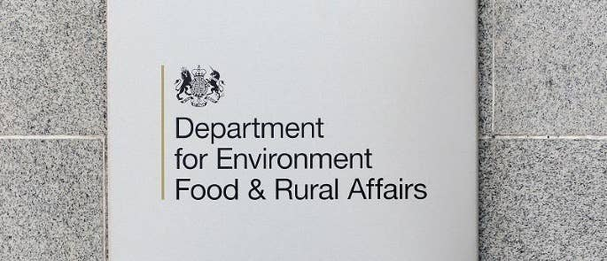 Close up of the sign for the government department DEFRA