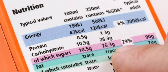 Nutrition content label