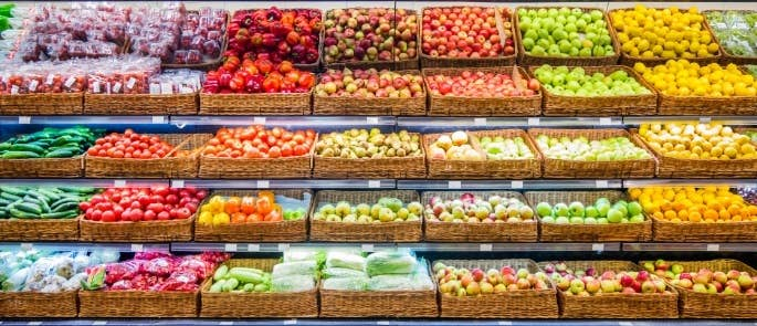 A selection of fresh fruit and vegetables in a shop