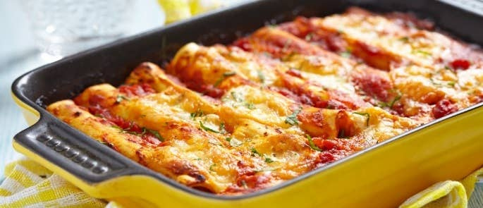 Home-cooked Cannelloni Pasta Dish in Ceramic Dish