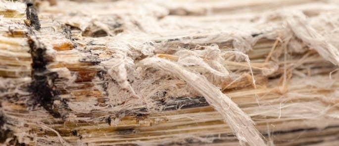 Up-close damaged asbestos fibres