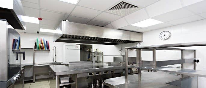Empty commercial kitchen with extraction system