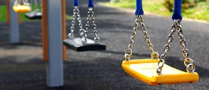 A school playground swing
