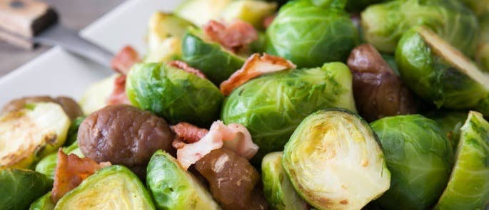 Sprouts cooked with chestnuts and bacon