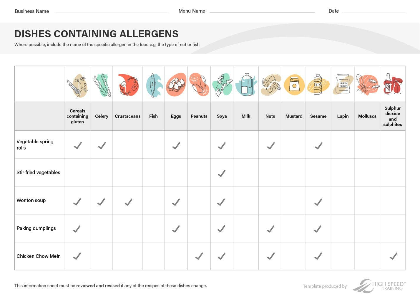 Food Allergy Chart Example Preview