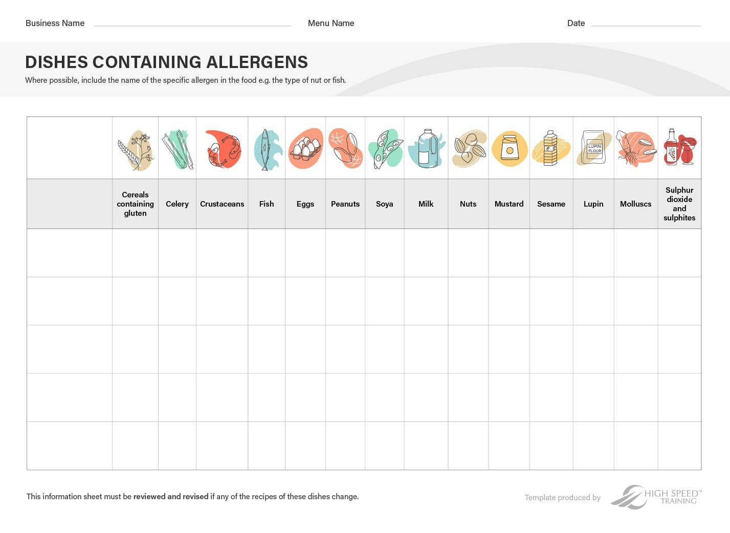 Food Allergy Chart Template Preview