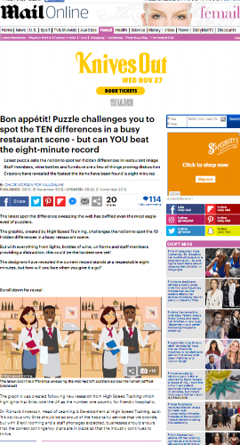 Daily Mail screenshot of spot the difference puzzle