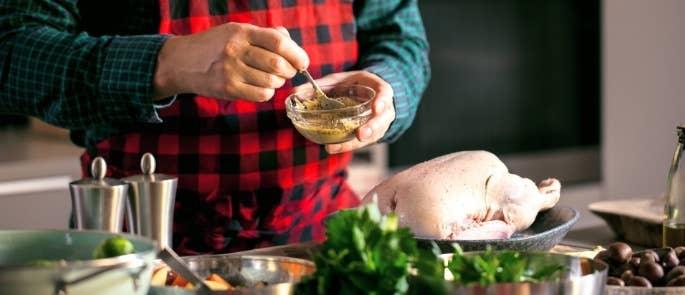 A man preparing Christmas dinner