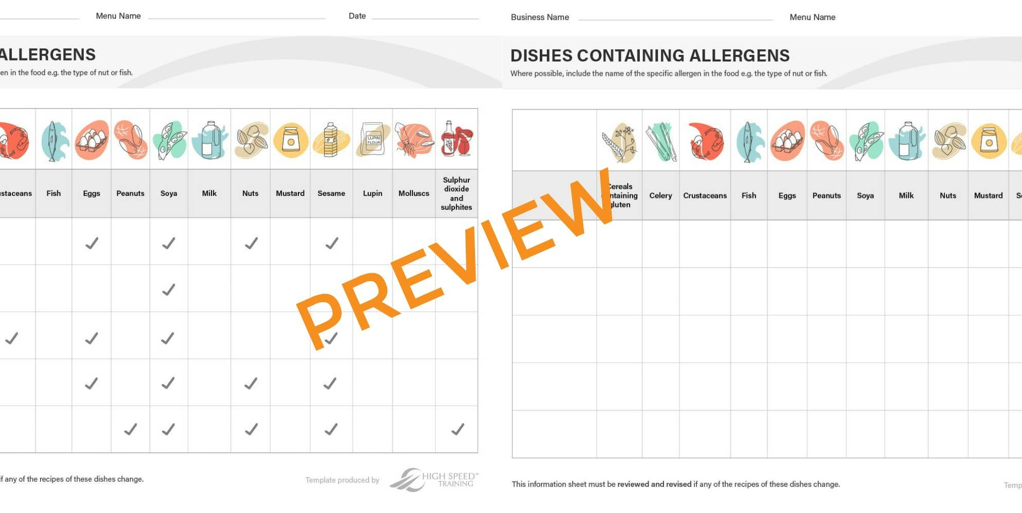 Allergy chart for restaurants preview
