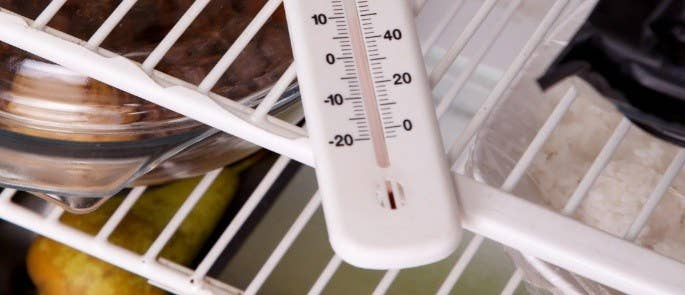 Thermometer on a fridge shelf