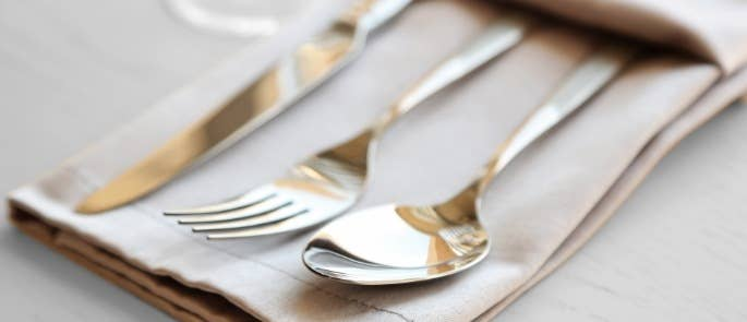 A linen napkin with cutlery