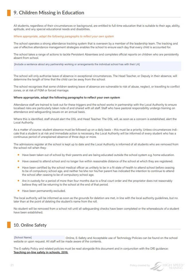 Safeguarding Policy Template for Schools Page 3