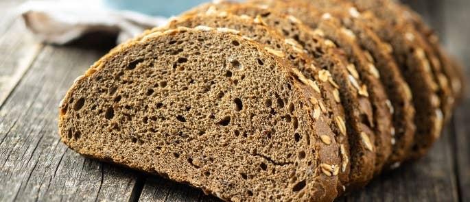 Loaf of sliced wholemeal bread