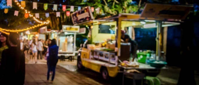 A food truck offering food at a festival