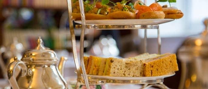 A display of afternoon tea at a tearoom
