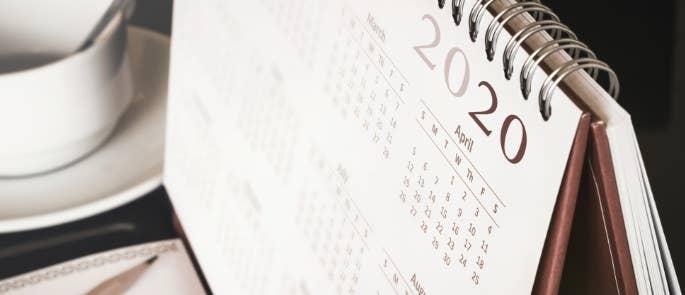 Calendar with 2020 date