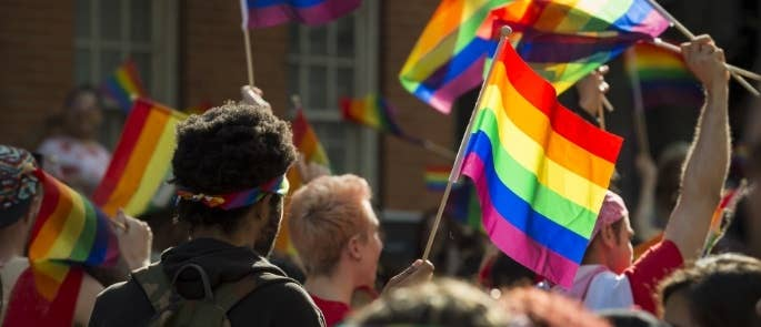 LGBTQ+ people with pride flags