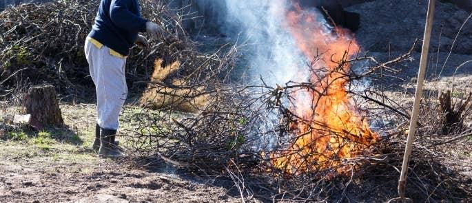 Woman having a bonfire