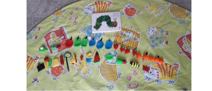 Creative use of play-doh to make a caterpillar
