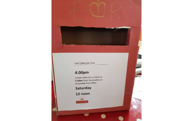 Homemade postbox for children to play with